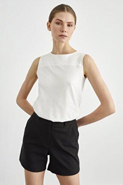 Kadın Kemik Kolsuz Örme Bluz