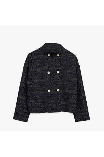 Yargıcı Kadın Lacivert Düğme Detaylı Ceket