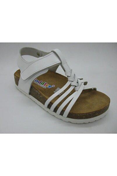 Toddler Kız Çocuk Beyaz Hakiki  Deri Anatomik Mantar Taban Sandalet 22-25 01218