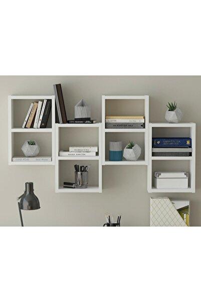 Sanal Mobilya Linz 8 Raflı Kitaplık - Duvar Rafı Mat Beyaz