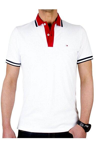 Tommy Hilfiger Erkek Beyaz Kontrast Placket  Regular Fit Polo T-shirt  Mw0mw10792