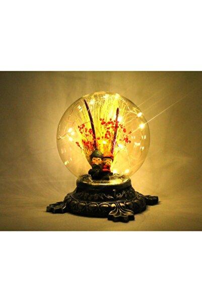BURDANEVE Bankta Oturan Sevgili Temalı Işıklı Küre Gece Ve Masa Lambası