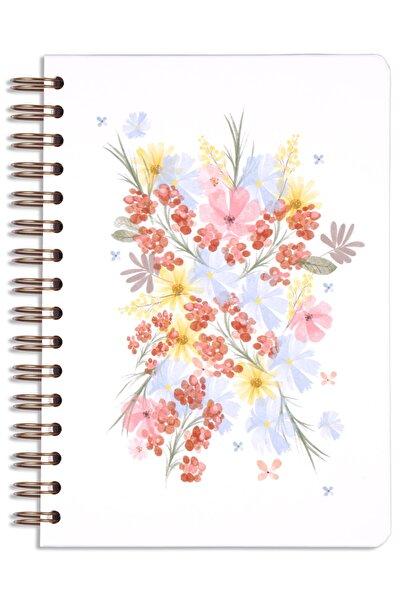 Matt Notebook A5 Süresiz Planlayıcı Ajanda Bordo Çiçekler