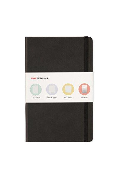 Matt Notebook 13x21 Lastikli Defter Noktalı Siyah