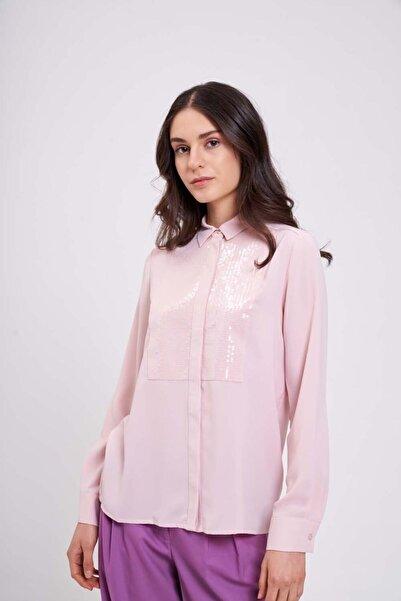 Mizalle Önü Pul Işlemeli Gömlek Bluz (Pudra)