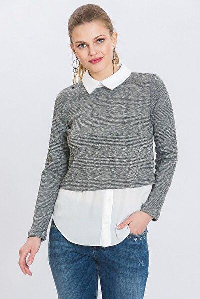 Lafaba Kadın Gri Gömlek Yakalı Ekose Bluz