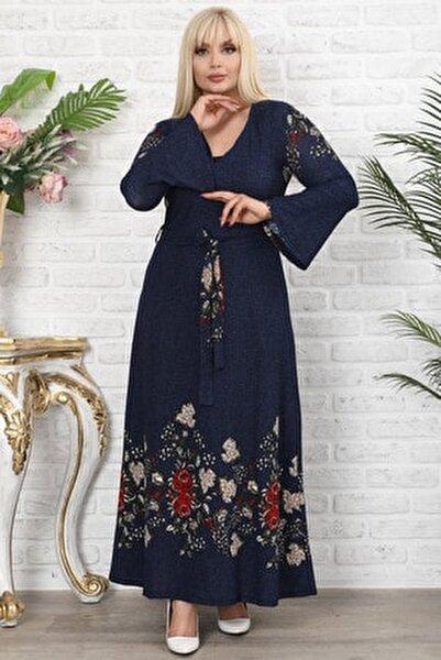Lacivert Çiçek Desenli Kruvaze Yaka Volan Kol Elbise