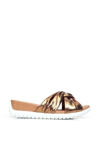 BUENO Shoes Çapraz Detaylı Hakiki Deri Kadın Düz Terlik 9n7101