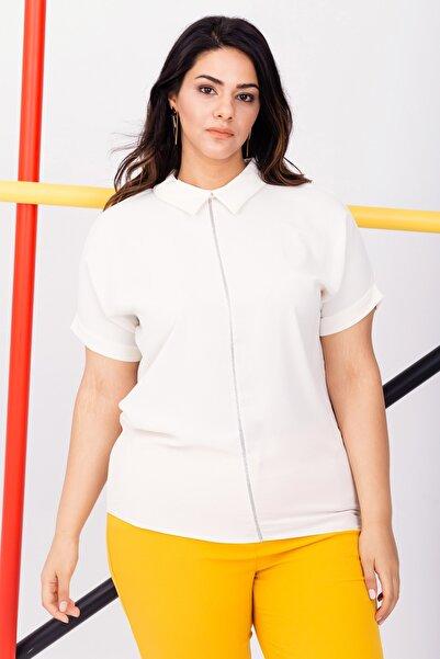 Lafaba Kadın Beyaz Önü Süslemeli Kısa Kollu Büyük Beden Şifon Bluz