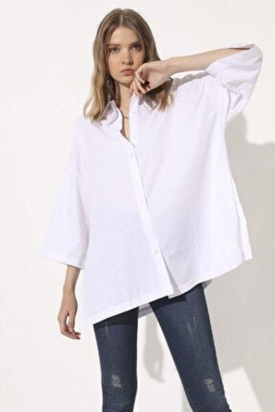 Poplin Oversize Gömlek - Beyaz