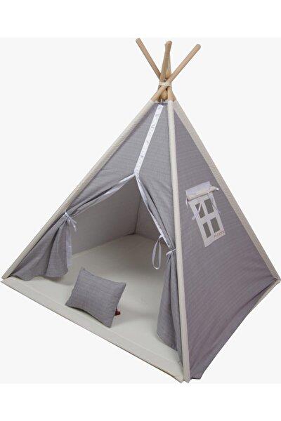 Fi Çadır Premium  Ahşap Iskeletli Pamuklu Kumaş Gri Oyun Çadırı