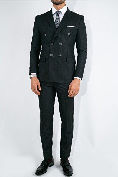 Suitmen Ince Çizgili Slim Fit Kruvaze Takım Elbise Siyah