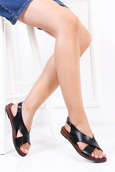 Deripabuc Hakiki Deri Siyah Kadın Deri Sandalet Dp-0069