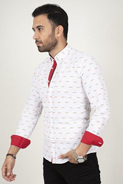DeepSEA Erkek Beyaz-kırmızı Renkli Nokta Desenli Regular Fit Gömlek 2002140