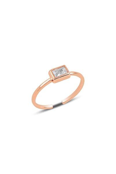 Söğütlü Silver Gümüş Rose Baget Taşlı Ayarlamalı Yüzük