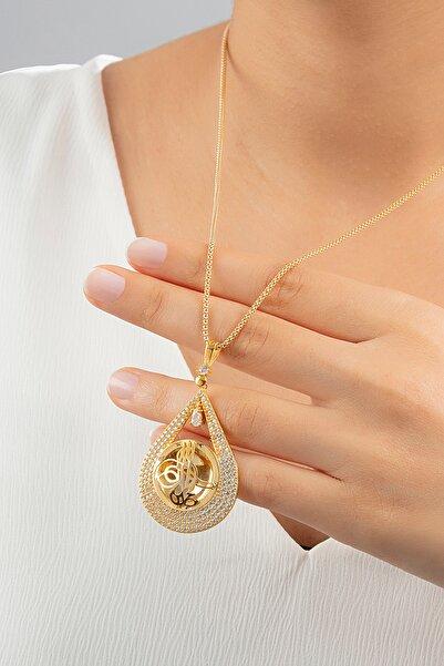 Ventino Silver Zirkon Taşlı Osmanlı Tuğralı Altın Kaplama Kadın Gümüş Kolye Vkk-4091