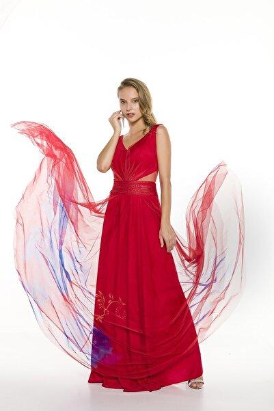 Abiye Sarayı Kırmızı Bel Detaylı Çiçek Desenli Uzun Abiye Elbise