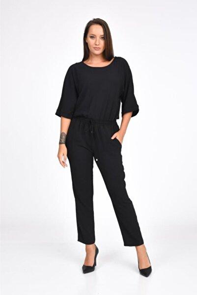 Modkofoni Kısa Kollu Takı Detaylı Önden Bağcıklı Siyah Tulum Elbise