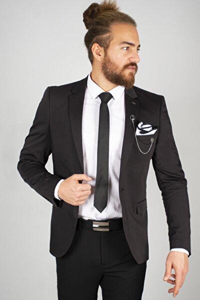 DeepSEA Erkek Siyah Yırtmaçlı Slim Fit Blazer Ceket 2002278