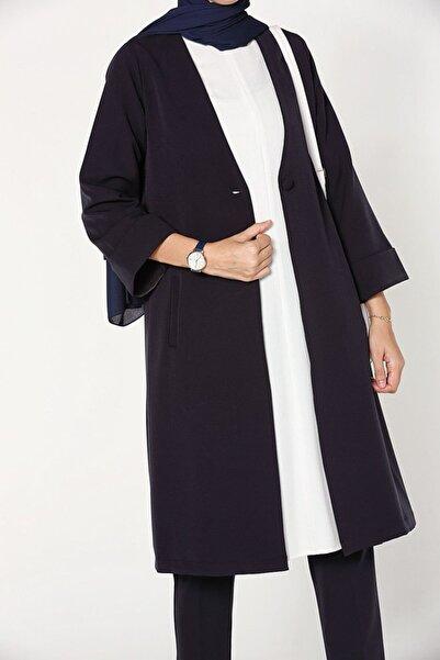 ALLDAY Lacivert Düğmeli Cepli Uzun Ceket