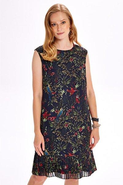 İKİLER Eteği Pliseastarlı Şifon Elbise 020-4031