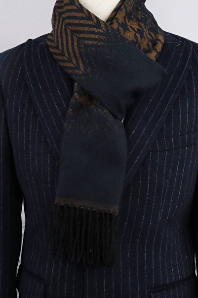 ROMASTER Lacivert Kahverengi Renk Desenli Erkek Şal