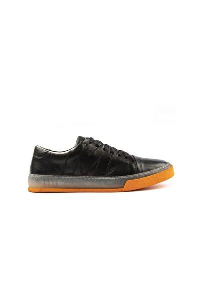 MARCOMEN Siyah Hakiki Deri Renkli Taban Sneaker