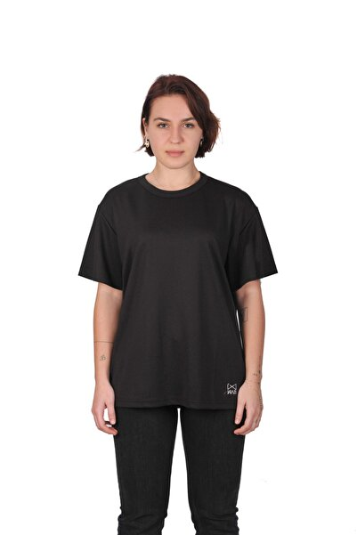 WAB Kadın Siyah Bisiklet Yaka T-shirt