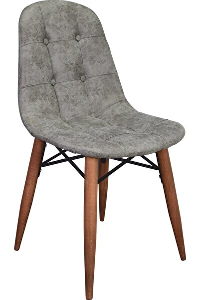 Solay Home Ahşap Ayaklı Sandalye Gri - Masa Sandalyesi - Mutfak Sandalyesi - Modern Tasarım