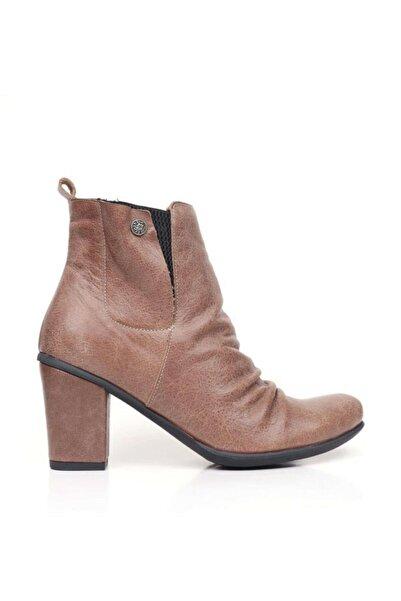 BUENO Shoes Önden Büzgülü Hakiki Deri Kadın Topuklu Bot 9k3300