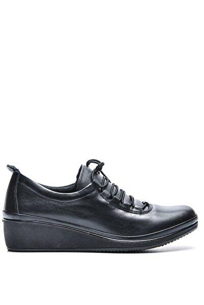 Bulldozer 210678 Sıyah Kadın Deri Comfort Ayakkabı