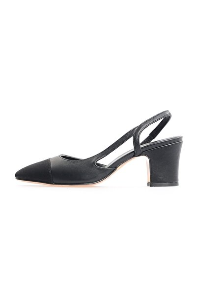 Flower Siyah Kalın Topuklu Ayakkabı