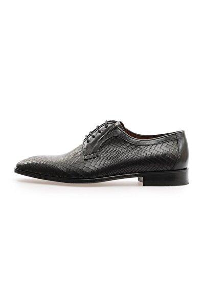 Flower Siyah Bufalo Deri Klasik Erkek Ayakkabı