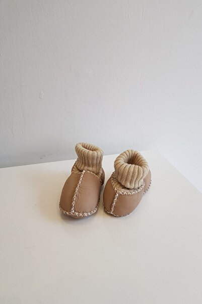 Papulin Kız Erkek Bebek Süet Deri Kürklü Patik
