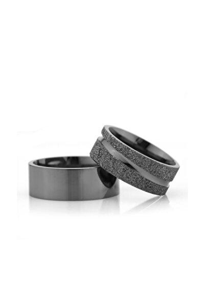 Gümüşcüm Siyah 8mm Bayan Gümüş Alyans Modeli Çizgili Nişan Yüzüğü