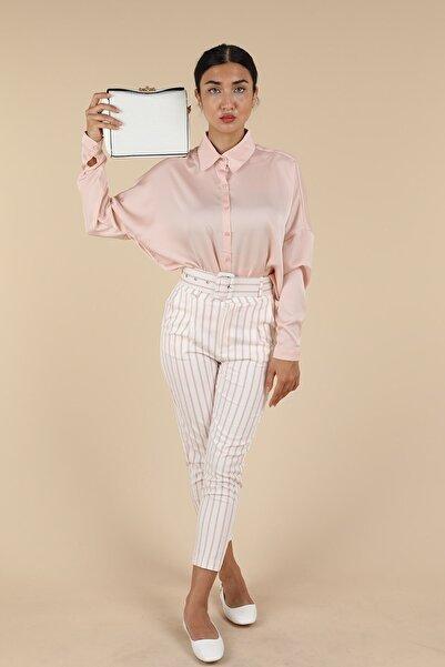 Oblavion Beyaz Pembe Çizgili Pantolon