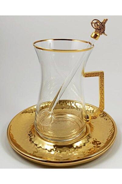 Turkuaz Crystal Tuğra Collection 18 Parça Altın Tuğra Armalı Çay Seti Takımı
