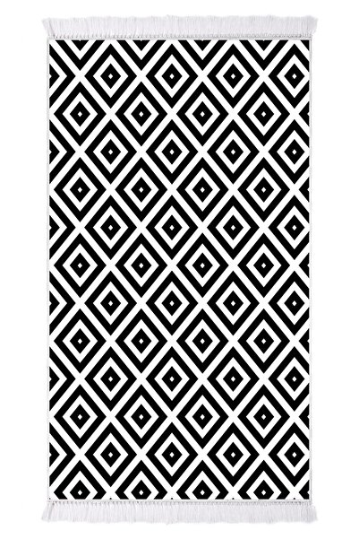 EXCLUSIVE Saray Dijital Halı Saçaklı Sarah Geometrik Siyah Beyaz