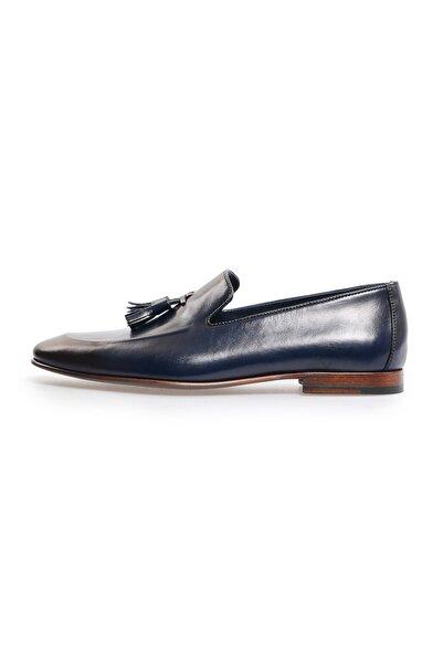 Flower Lacivert Önden Püskül Detaylı Klasik Ayakkabı