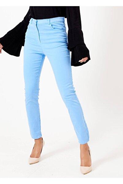 Adze Kadın Açık Mavi Dar Paça Slim Fit Pantolon Amavı 46
