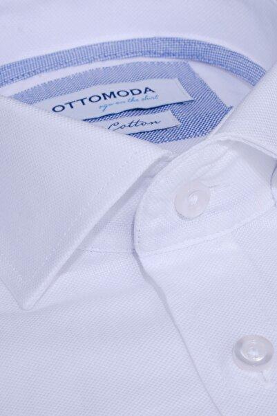 Ottomoda Uzun Kollu Düz Renk Oxford Erkek Gömlek Beyaz