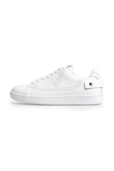 Flower Beyaz Trok Detaylı Bağcıklı Sneakers