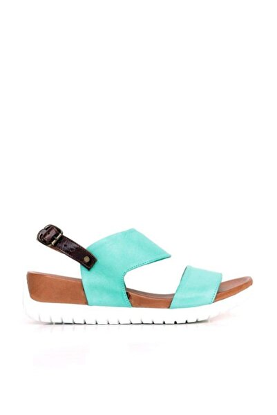 BUENO Shoes Kalın Tabanlı Hakiki Deri Kadın Düz Sandalet 9n7102