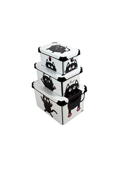 QUTU Style Box Meow- 3 Parça Set Dekoratif Saklama Kutusu