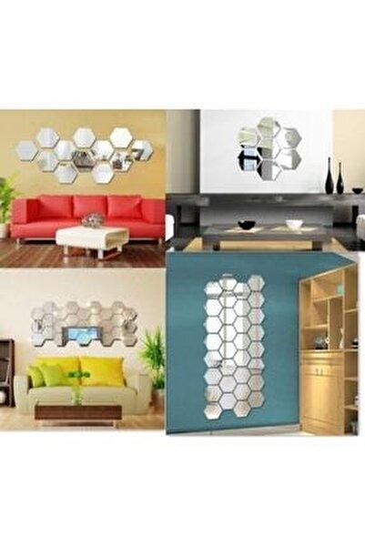 Bal Peteği Gümüş Dekoratif Altıgen 12x Süs Akrilik Ayna 11x12,5cm Antre Duvar Pleksi Yapışkan Bantlı