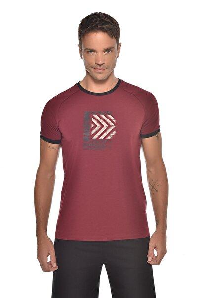 bilcee Erkek Bordo Baskılı Kısa Kol T-shirt Gw-9235