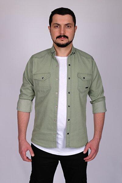 bombe Erkek Su Yeşili Çift Cepli Çıtçıtlı Kot Gömlek 176060