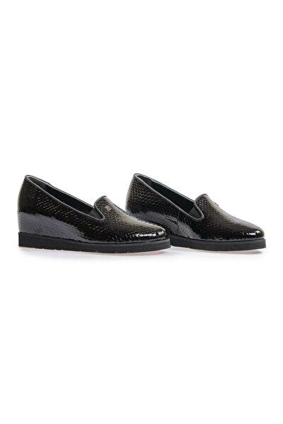 Flower Siyah Yılan Baskılı Günlük Ayakkabı