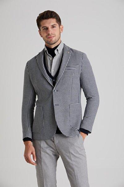 Dufy Lacivert Yün Karışımlı Kazayağı Erkek Ceket - Slım Fıt