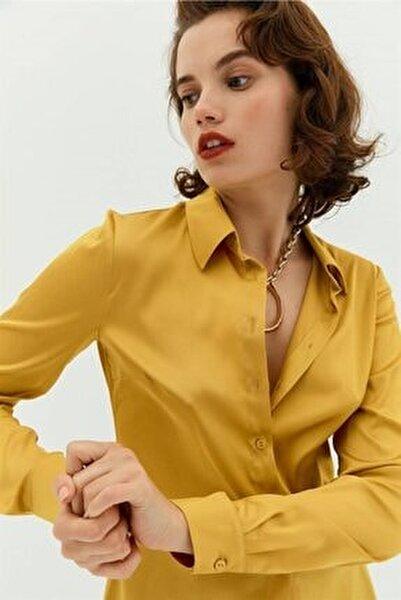 Safran Düğmeli Saten Gömlek